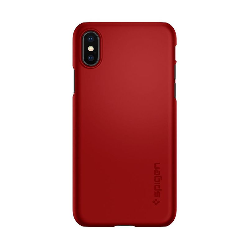 Spigen Thin Fit Чехол для iPhone X Metallic Красный 057CS22109